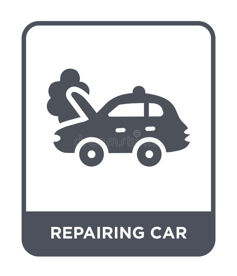 naprawianie samochodowa ikona w modnym projekta stylu naprawianie samochodowa ikona odizolowywająca na białym tle naprawianie sam ilustracji