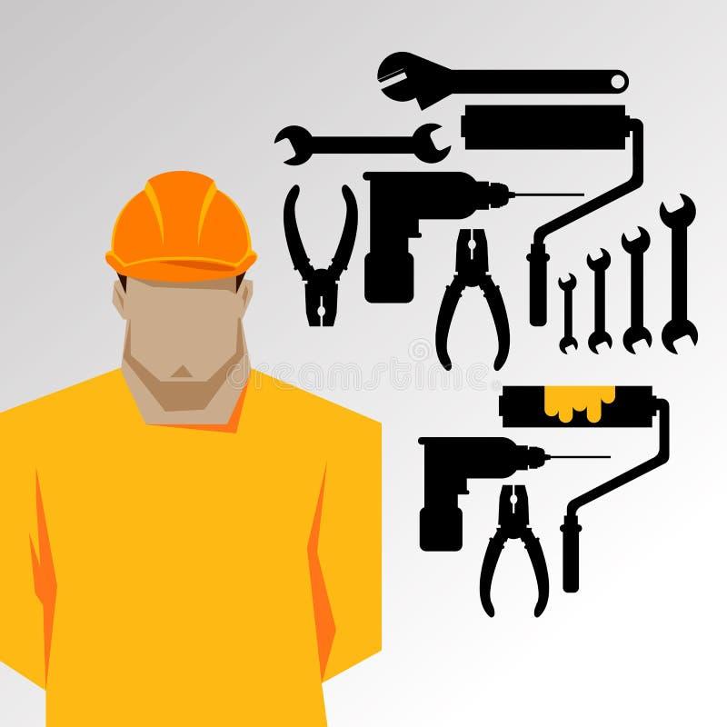 Naprawy, budowa budowniczy w żółtym hełmie pracuje z różnymi narzędziami inżynier pracownik Płaska projekt ilustracja ilustracji