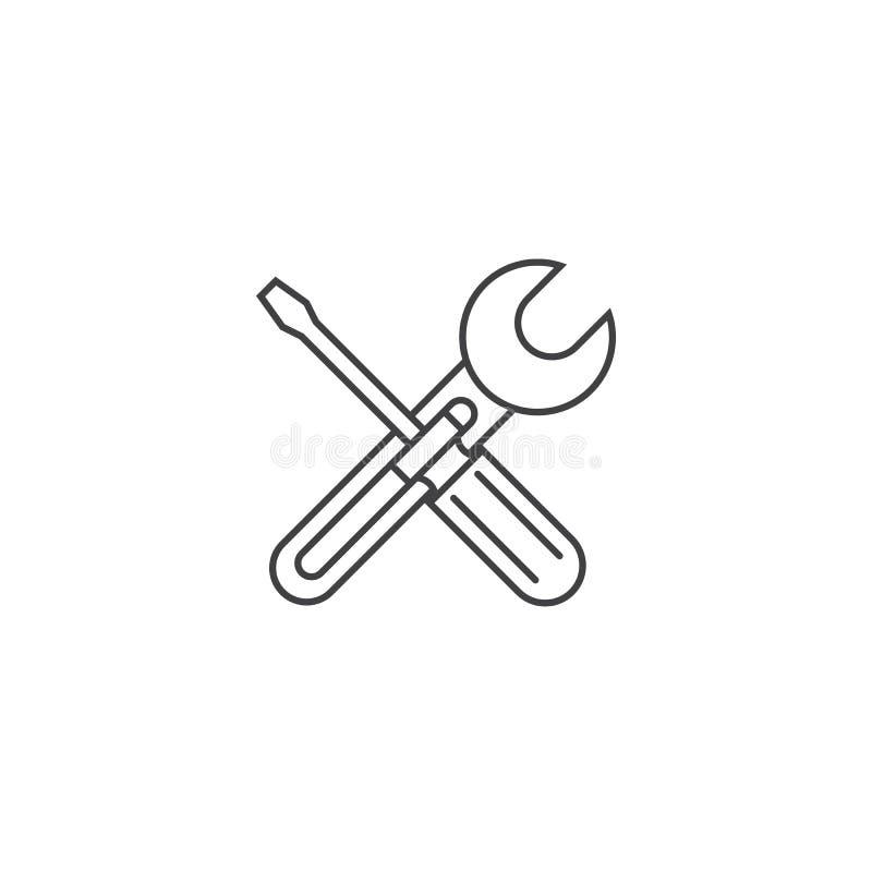 Naprawy cienka kreskowa ikona, położenia zarysowywa wektorową logo ilustrację royalty ilustracja