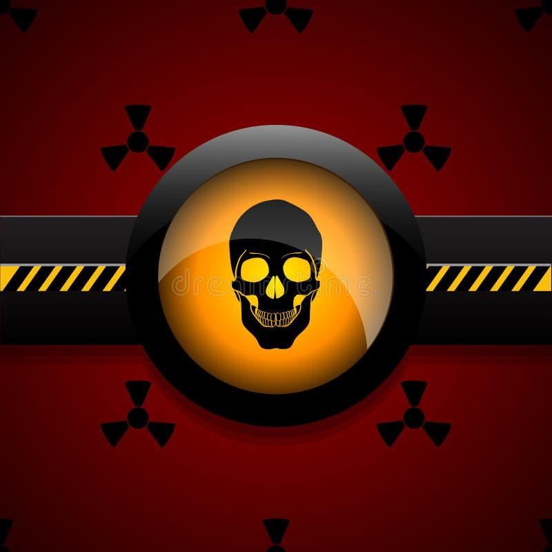 Napromienianie czaszki ikony ostrzegawcza ilustracja eps 10 ilustracja wektor
