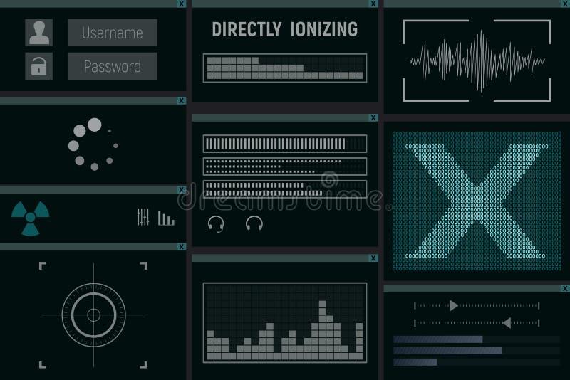 Napromienianie obrazu cyfrowego komputerowy monitor ilustracja wektor