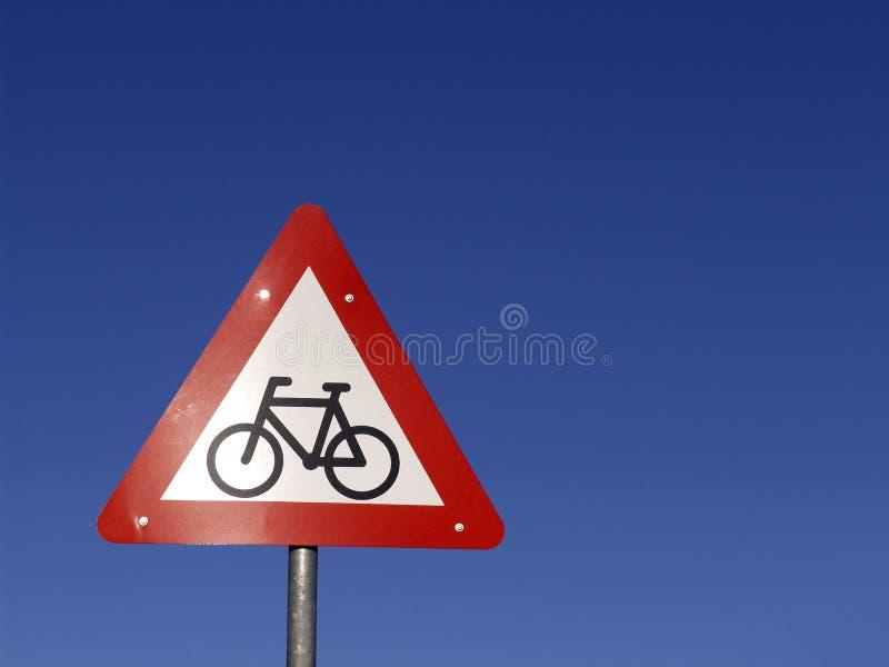naprzód cyklisty znak obrazy stock
