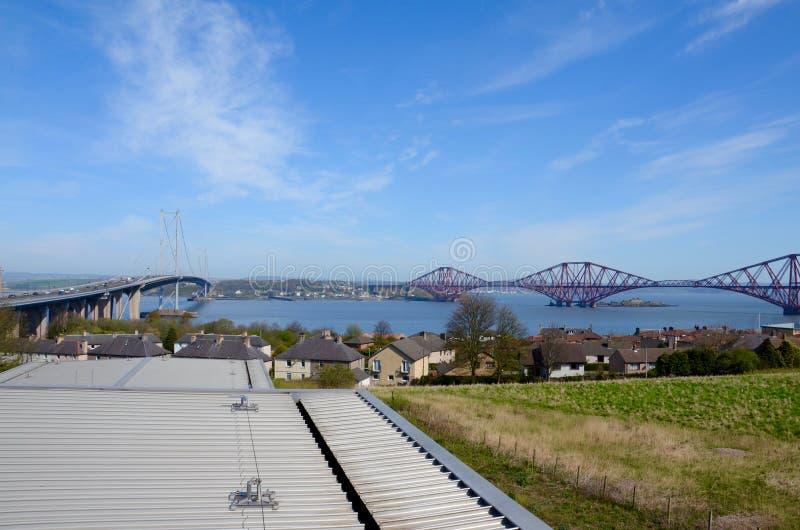 Naprzód mostu & poręcza most Naprzód, Queensferry, Szkocja zdjęcie stock