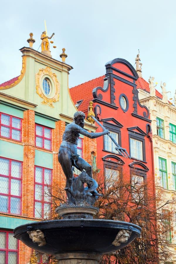 Naptune雕象和喷泉在格但斯克,波兰 图库摄影