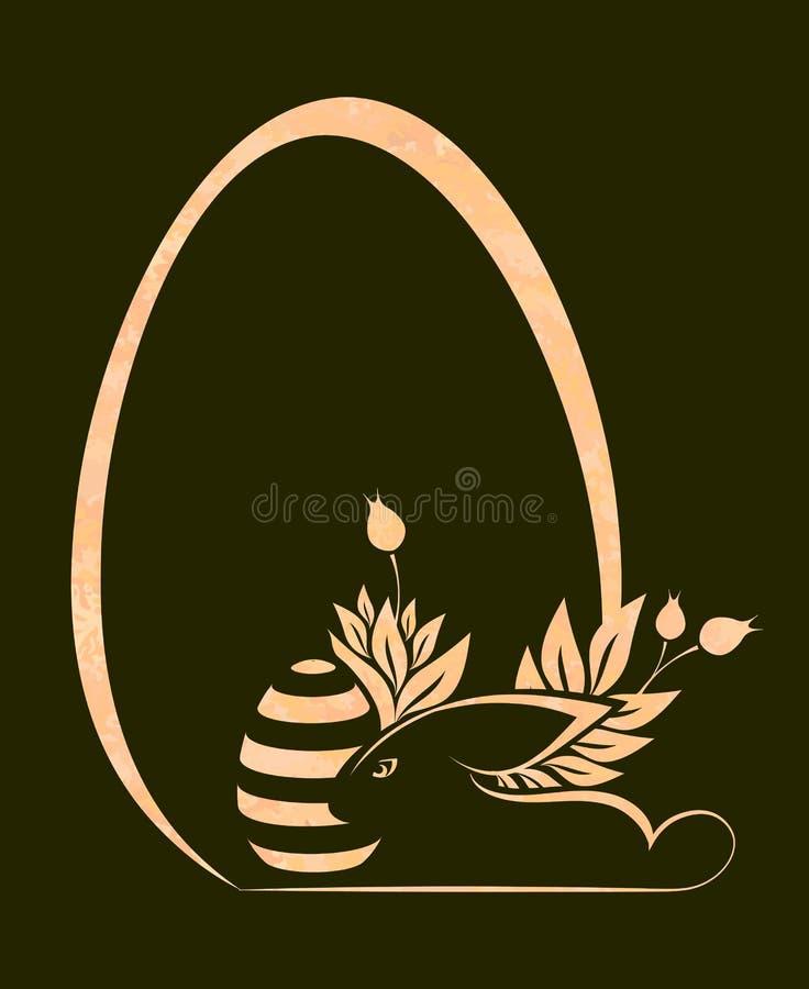 Napuszona Wielkanocnego jajka sylwetka z beżowym królikiem, projekta element royalty ilustracja