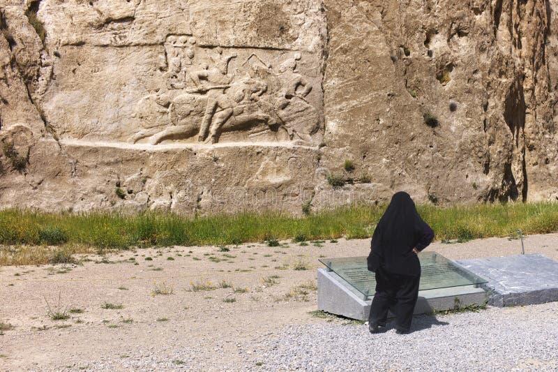 Naqsh-e Rustam basrelief, Iran royaltyfria bilder