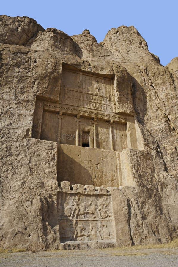 Naqsh-e Rustam Persian ancient necropolis Persepolis in Fars Province Iran ancient Iranian rock relief. Naqsh-e Rustam Persian ancient necropolis northwest of royalty free stock photography