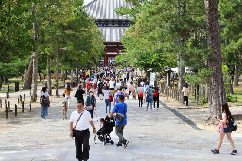 Nara, Japão, em junho de 2018, aglomera o templo budista de Todaiji dos povos imagens de stock royalty free
