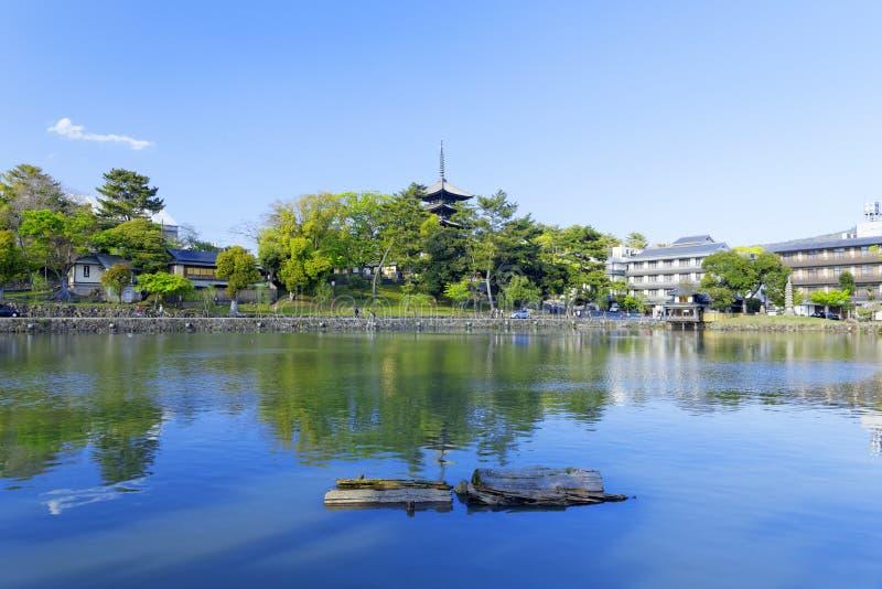 Nara, Japón en la charca de Sarusawa imagen de archivo libre de regalías