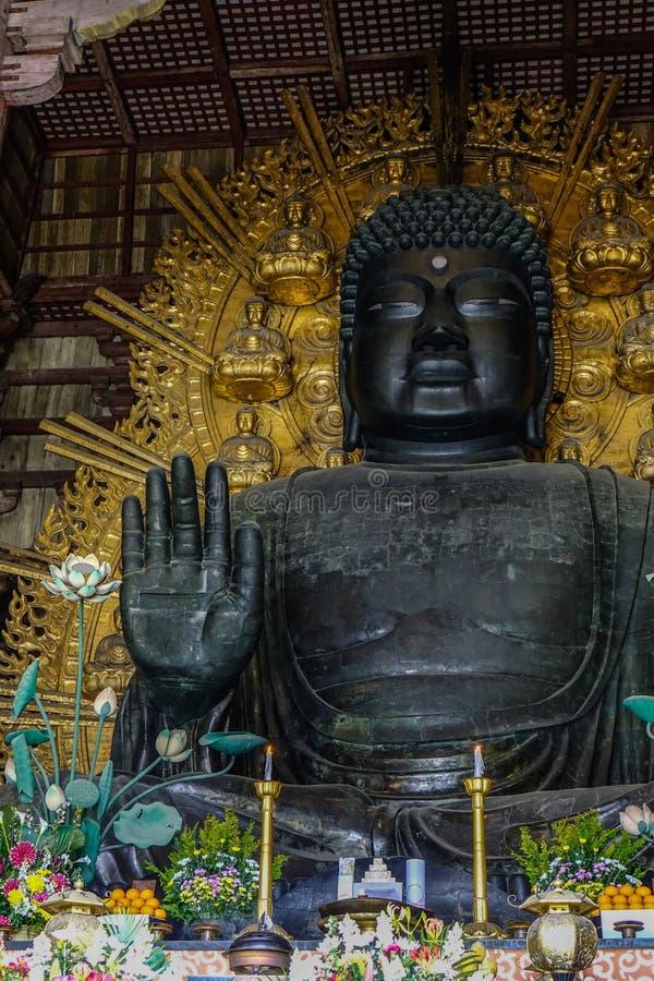 Great Buddha Daibutsu in Todaiji Pagoda stock photo