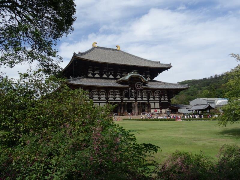 Beautiful view of the Todai-ji temple in Nara, the Great Buddha Hall stock photo