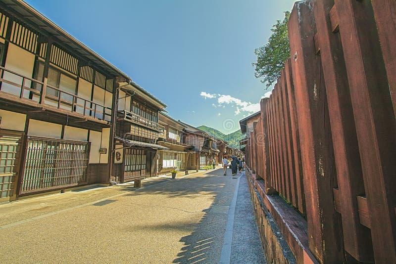 Narai is een kleine stad in de Prefectuur Japan, de oude stad van Nagano stock afbeelding