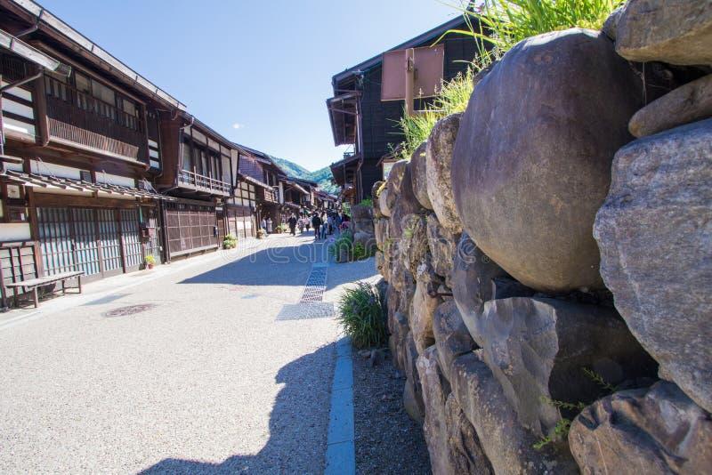 Narai is een kleine stad in de Prefectuur Japan van Nagano stock foto's