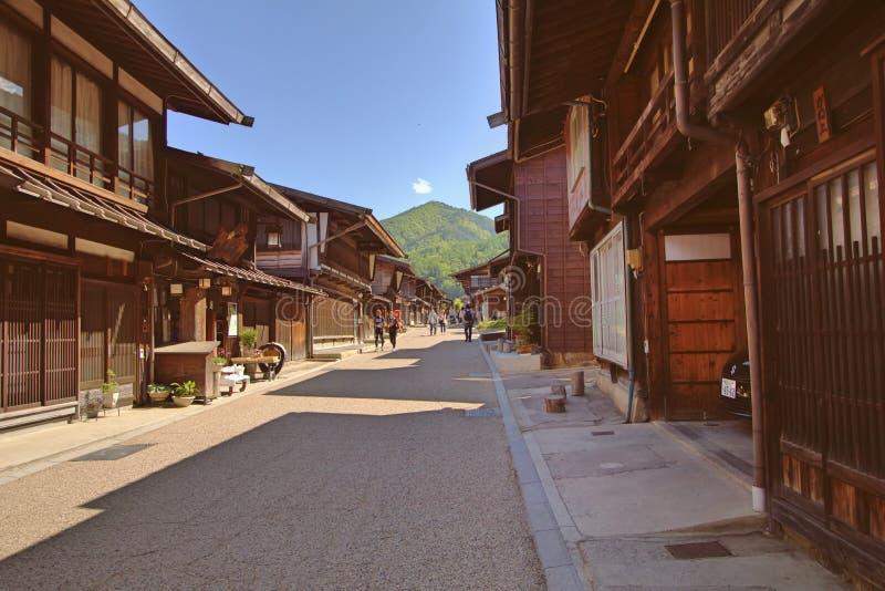 NARAI, JAPAN - JUNI 4, 2017: De mensen lopen in Narai zijn een kleine stad in de Prefectuur van Nagano royalty-vrije stock fotografie