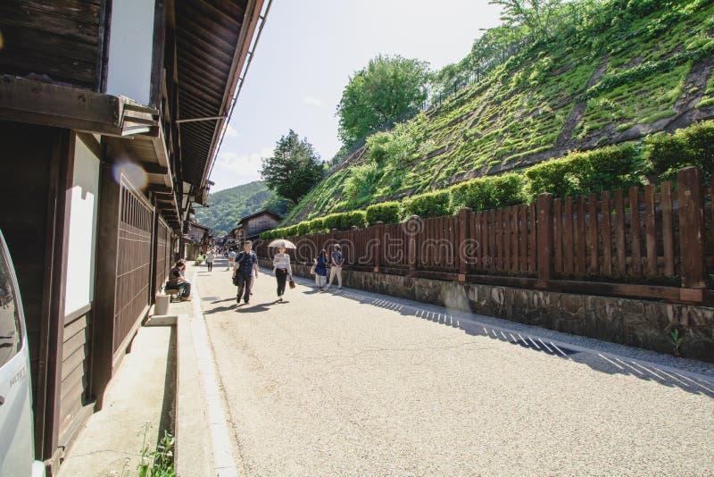 NARAI, JAPAN - JUNI 4, 2017: De mensen lopen in Narai zijn een kleine stad in de Prefectuur van Nagano stock fotografie