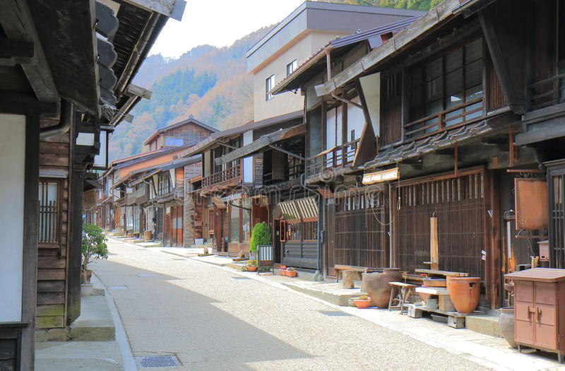 Naraijyuku historisk husgata Nagano Japan arkivbilder