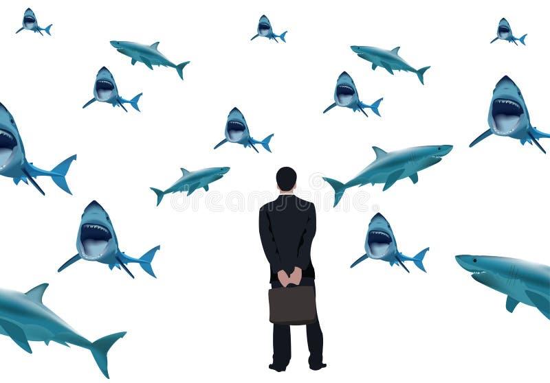 Naramienna osoba patrzeje rekiny ilustracji