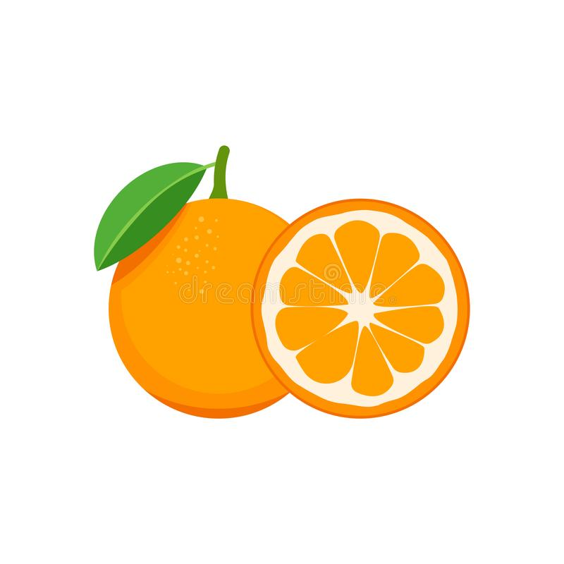 Naranja aislada en el fondo blanco Ilustraci?n del vector fotografía de archivo libre de regalías
