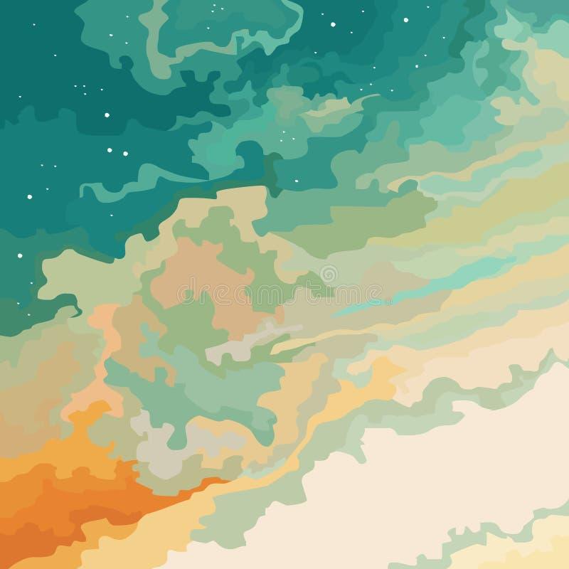 Naranja azul de la puesta del sol del cielo de la historieta con las estrellas libre illustration