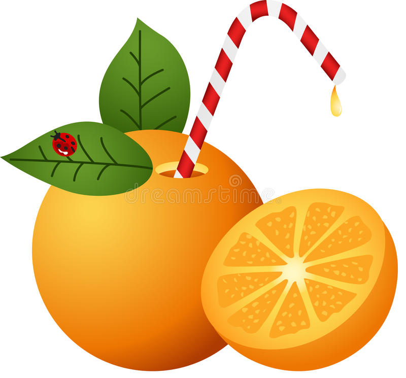 Naranja con la paja ilustración del vector