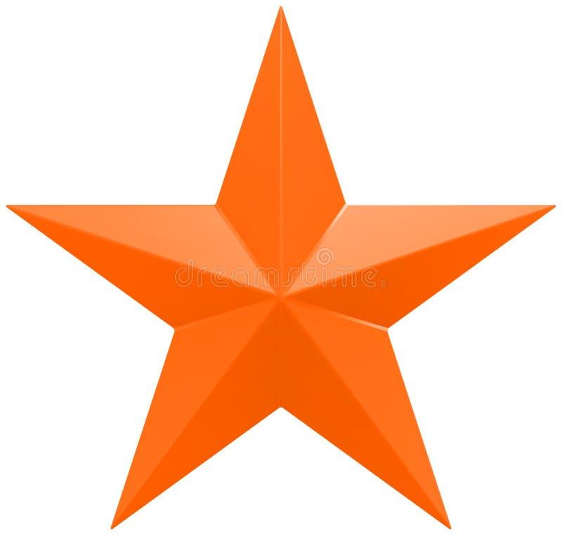 Naranja de la estrella de la Navidad - estrella de 5 puntos - aislada en blanco ilustración del vector