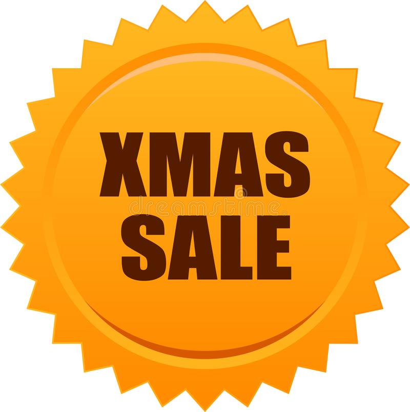 Naranja de la insignia del sello del sello de la venta de Navidad stock de ilustración
