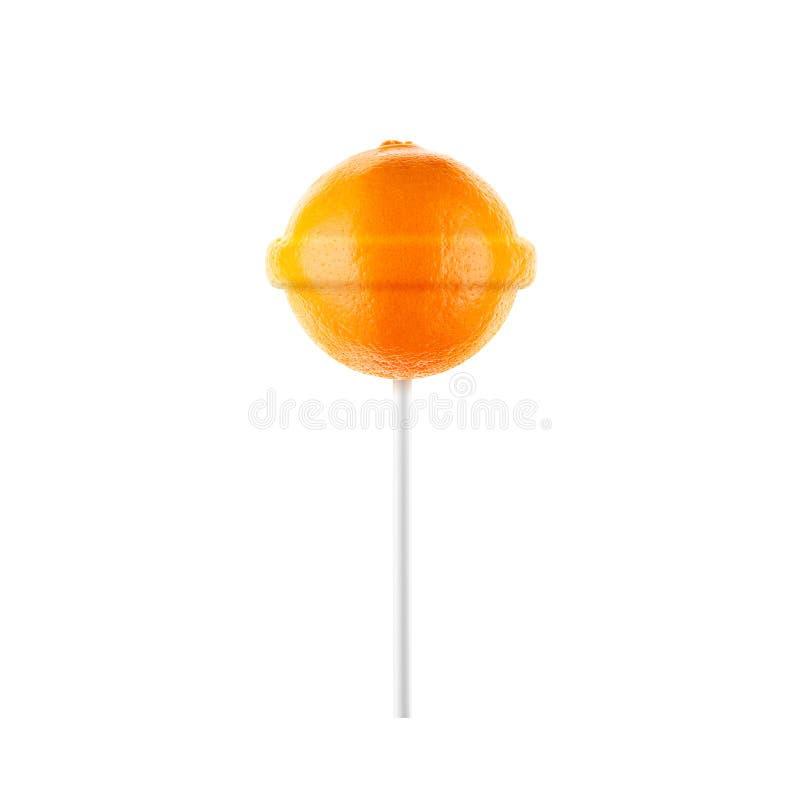 Naranja de la piruleta foto de archivo libre de regalías