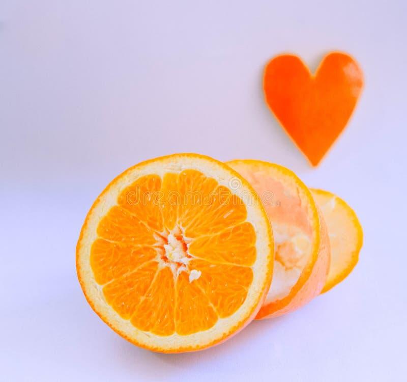Naranja del amor del día de tarjeta del día de San Valentín foto de archivo