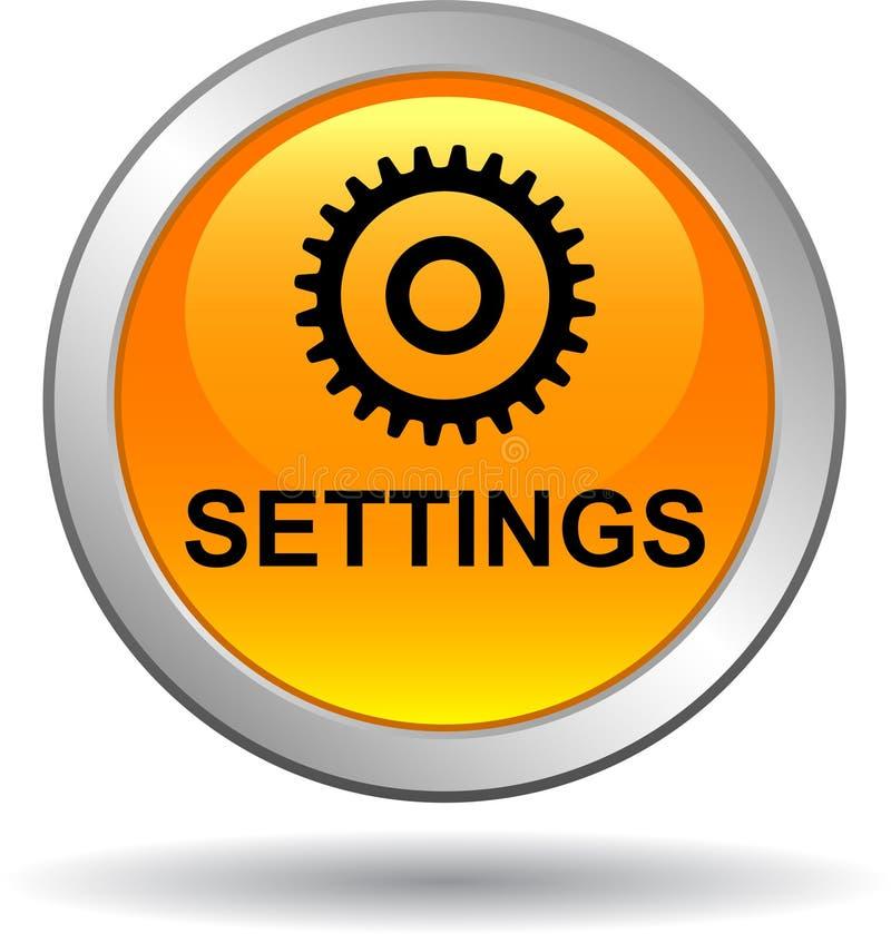 Naranja del botón del web de los ajustes ilustración del vector
