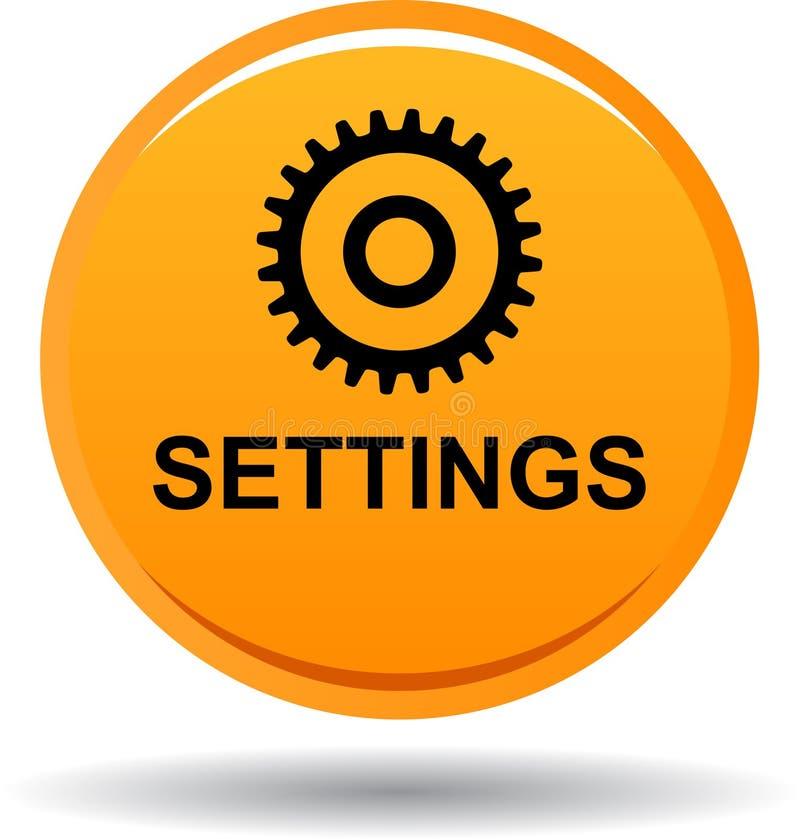 Naranja del botón del web de los ajustes stock de ilustración