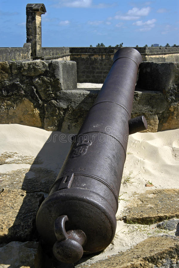 Naranja del fuerte, cañón y paredes de la defensa, el Brasil fotografía de archivo