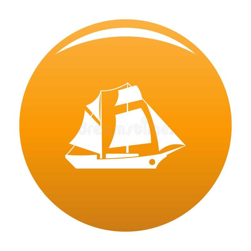 Naranja del icono de la excursión de la nave ilustración del vector