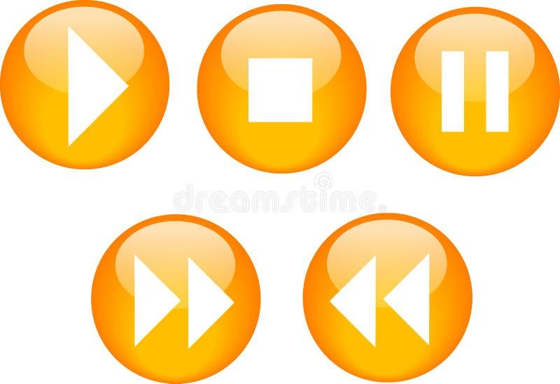 Naranja del lector de cd de los botones stock de ilustración