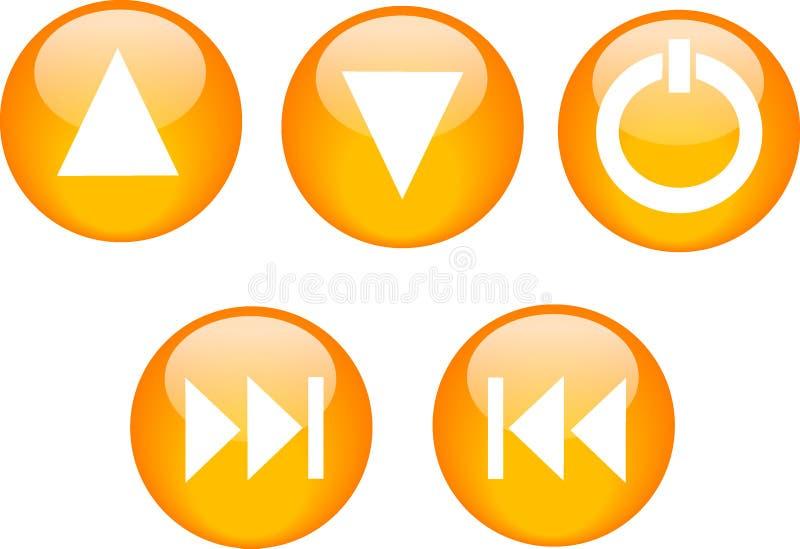 Naranja del lector de cd de los botones ilustración del vector