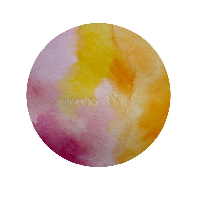 Naranja del rosa del círculo de la acuarela stock de ilustración