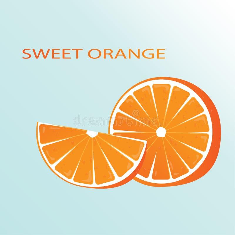 Naranja dulce Ejemplo del vector de una naranja en un fondo azul Fruta jugosa y de fascinación EPS 10 stock de ilustración