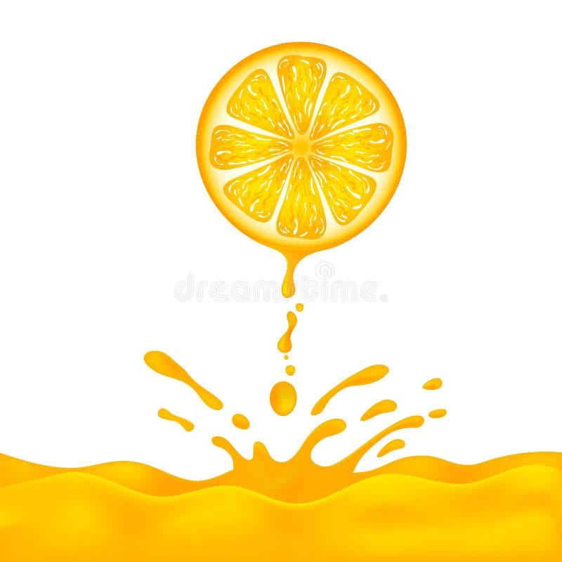 Naranja fresca con el zumo de naranja de la gotita en fondo Ilustraci?n del vector stock de ilustración