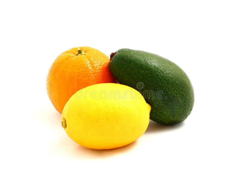 Naranja, limón, aguacate imagenes de archivo
