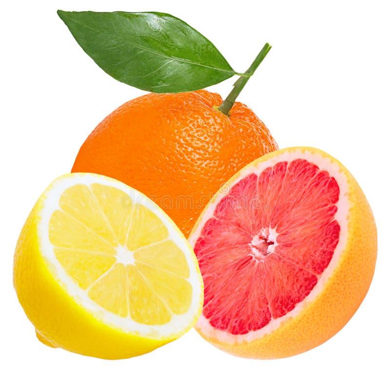 Naranja, limón fresco y pomelo aislados en blanco fotos de archivo