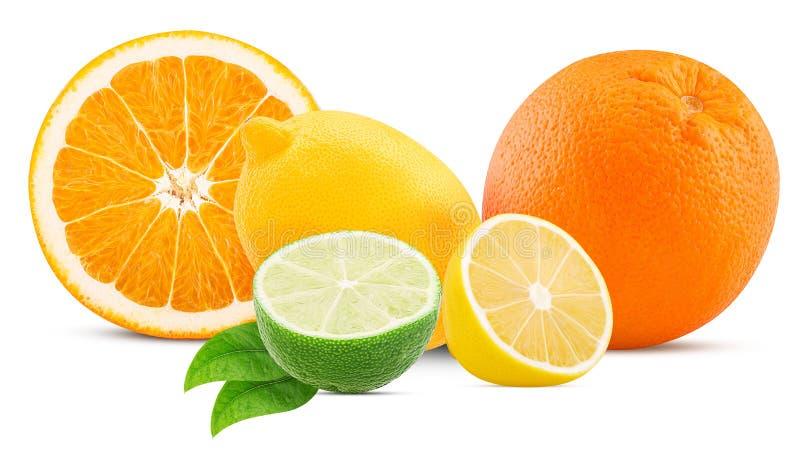 Naranja, limón y cal con la hoja fotografía de archivo libre de regalías