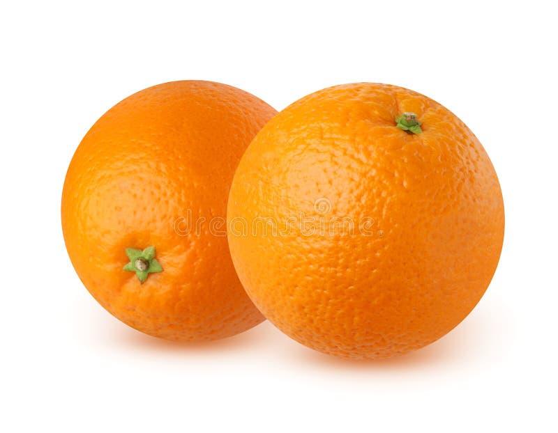 Naranja madura dos en el fondo blanco fotografía de archivo