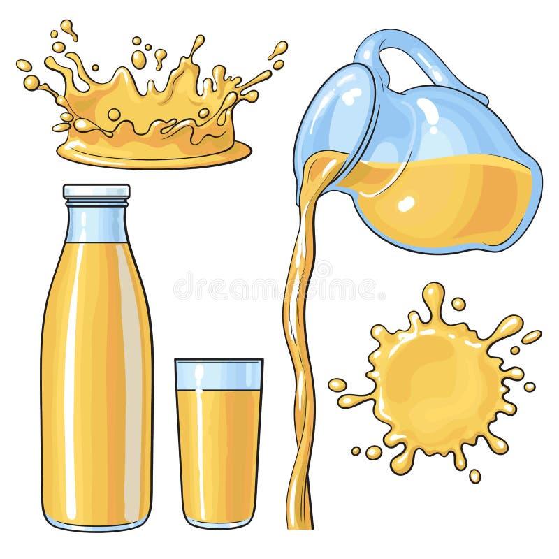 Naranja que salpica y de colada en la botella, vidrio, jarro, ejemplo del vector stock de ilustración