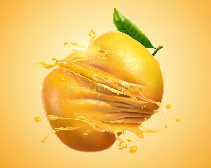 Naranja torcida con salpicar el jugo ilustración del vector