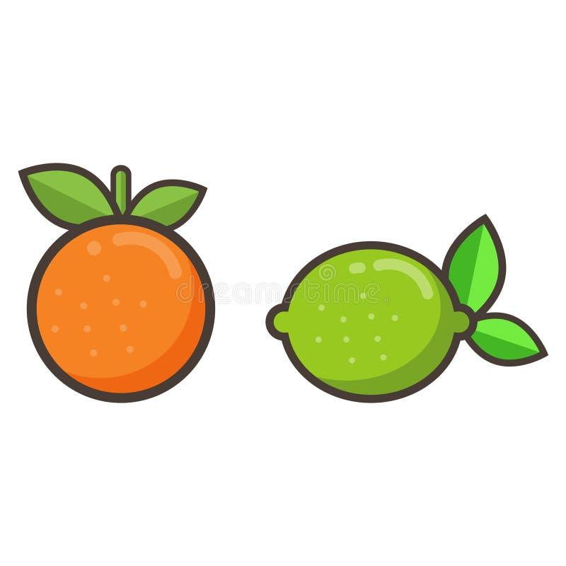Naranja y cal de la historieta libre illustration