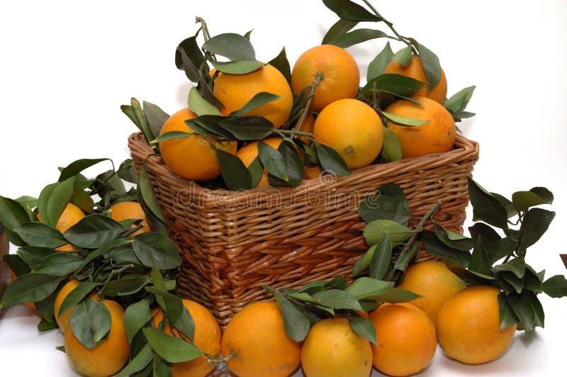 Naranjas en la cesta fotos de archivo