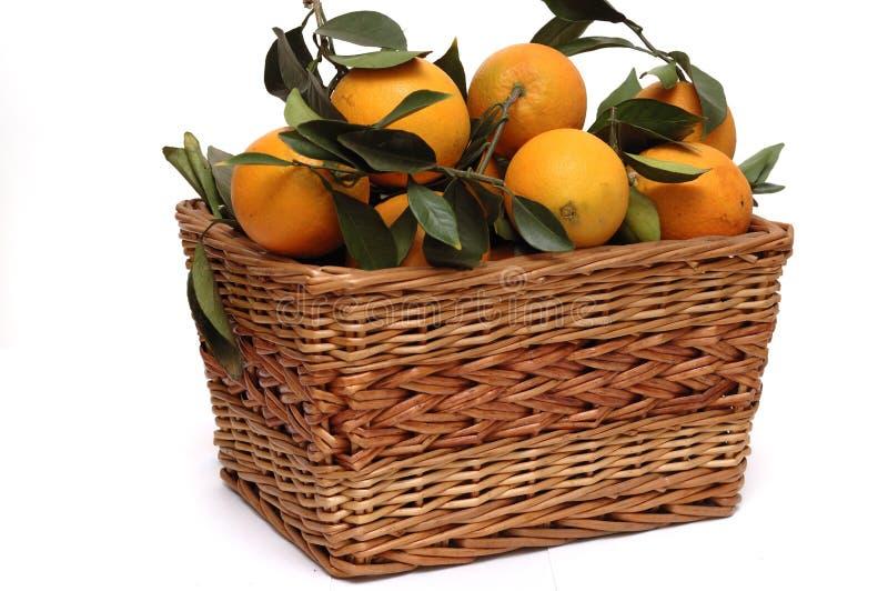 Naranjas en la cesta fotografía de archivo libre de regalías