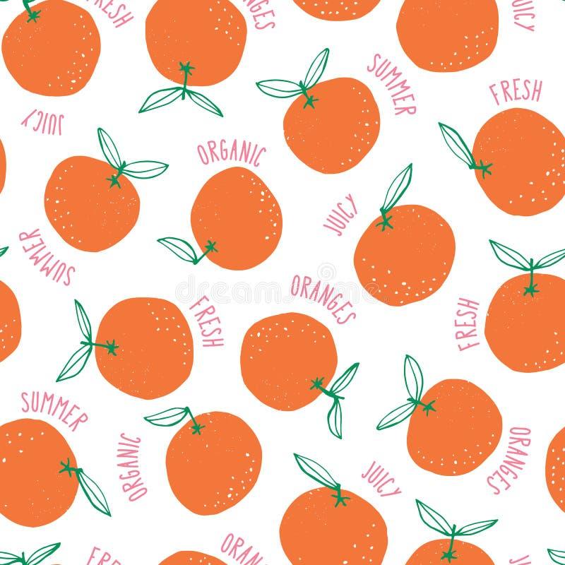Naranjas a mano coloridas caprichosas del garabato y fondo inconsútil del modelo del vector de las palabras Frutas coloridas del  ilustración del vector
