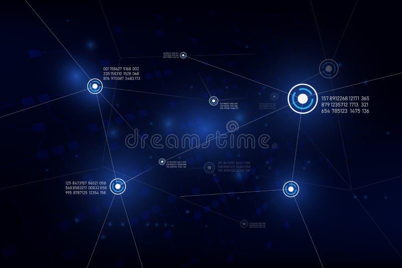 Narastająca globalna sieć i dane związki technologia, communic royalty ilustracja