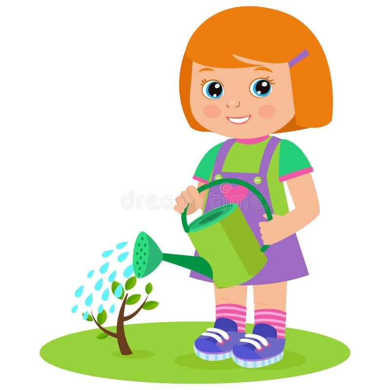 Narastająca Młoda ogrodniczka Śliczna kreskówki dziewczyna Z podlewanie puszką royalty ilustracja