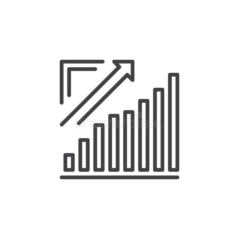 Narastająca mapa, Strzałkowata wykres kreskowa ikona iść up, konturu wektoru znak, liniowy piktogram odizolowywający na bielu ilustracji